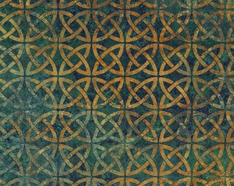 Solstice Fabric - Stonehenge 10th Anniversary - Celtic Circle - Northcott  39429-69 Teal - Priced by the 1/2 yard
