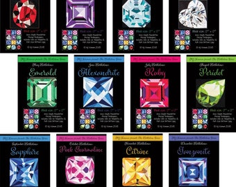 Birthstone Blocks - Gemstone Pattern - MJ Kinman - Paper Piecing block pattern - Calendar Stones - Freezer Paper Piecing