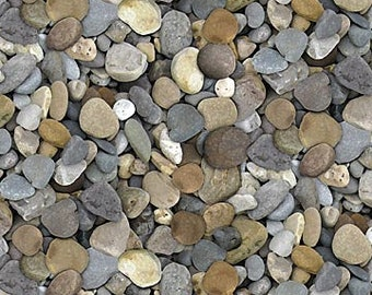 Naturescape Fabric - Pebble - Large Stone - Landscape Fabric - Northcott  21394 93 Gray - Priced by the 1/2 yard