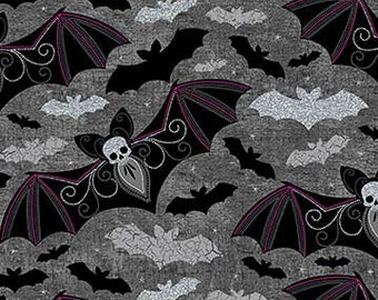 Northcott Elegantly Frightful - Bats -  Northcott Studio - 22198 GL - Black w/Silver Glitter - Priced by the Half Yard