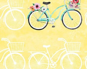 Northcott April Showers - Floral Bike - Heatherlee Chan for Northcott Studio - 22592 51 Yellow & White - Priced by the Half Yard