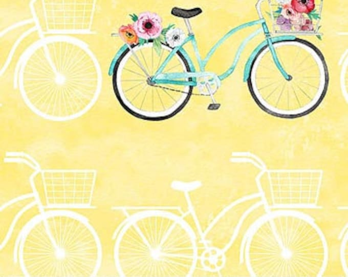 Featured listing image: Northcott April Showers - Floral Bike - Heatherlee Chan for Northcott Studio - 22592 51 Yellow & White - Priced by the Half Yard