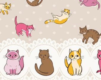 Kitty Fabric, Tossed Kitty Fabric, Cat Fabric - Caturday by Felice Regina - Windham  42949 2 Gray Tan - Priced by the 1/2 yard Double border