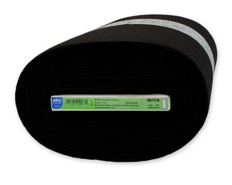 Fusible Fleece - Medium Weight Pellon 987B Interfacing - Black - Priced by the half yard