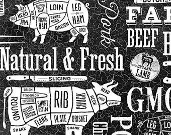 Northcott Farm to Table - Farm Animals - cutting diagram - Meat Cut - 22510 99 Black & White - Priced by the Half Yard