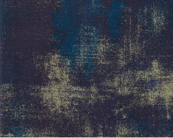 Navy Gold Metallic Grunge fabric by BasicGrey for Moda Fabrics 30150 353M Peacoat - Priced by the half yard