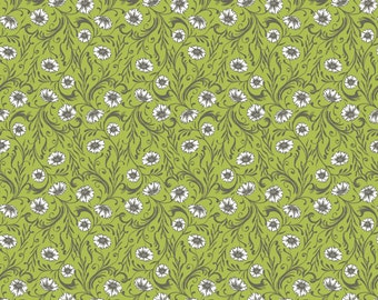 Floral Fabric - Poppies Fabric - Cushions & Dust Green Poppies - Sarah Watts Blend Fabrics 110 102 05 1  Green - Priced by the 1/2 yard