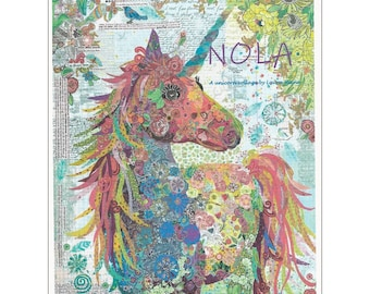 "Unicorn Nola -  Laura Heine - Applique Quilt - 35""x47""  DIY Pattern Or Kit Option - full size reusable template pattern"
