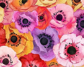 Northcott April Showers - Packed Floral - Paper whites Poppy - Heatherlee Chan  Northcott Studio - 22590 81 - Priced by the Half Yard