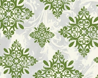 Christmas Fabric, Holiday Medallion Fabric - Seasons Greeting by Whistler Studio for Windham Fabrics - 40291 Green - Priced by the Half Yard