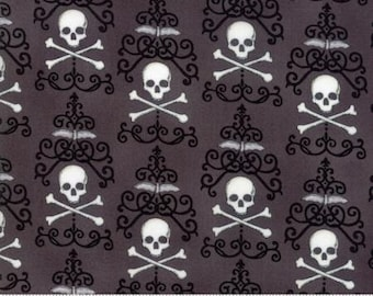 Halloween Fabric - Bewitching by Deb Strain - Halloween Danger Damask Moda 19841 11 Charcoal Grey -  priced by the 1/2 yard