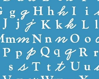 Alphabet Fabric from A is For  Alphabet by MY <3 KT for Windham Fabrics 37340 4 Blue - Priced by the 1/2 yard