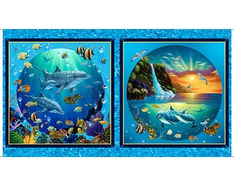 Sea Life Fabric - Fish Fabric - Porpoise -Tropical Fabric - Under the Sea Fabric - Artworks VIII -  26588 - Priced by the 24-Inch Panel