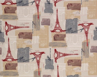 Eiffel Tower Fabric - April in Paris by Architecture En Vogue for Timeless Treasures C9407 Tan - End of Bolt 24 Inch