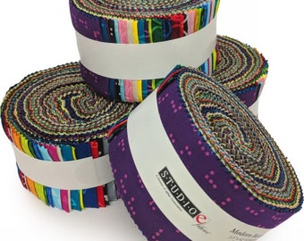 Batik Jelly Roll, 2-1/2-inch Fabric Strips - Modern Batiks by Studio E - 42 strips per roll - sold by the single roll