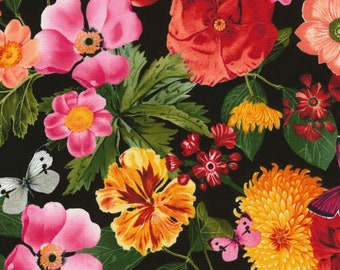 All Over Flower Arrangement - Wild Garden Floral Fabric by Timeless Treasures C6706 Black - Priced by the Half yard