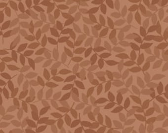 Harmony Blender Fabric - Leaf Fabric by Quilting Treasures 24777 A Toast Brown - Priced by the 1/2 yard