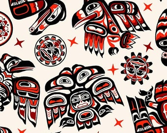 Totem Bird Fabric, Wood Carved Totem - Tossed Totem Animals from Elizabeth Studios Fabric - 505 White - Priced by the 1/2 yard
