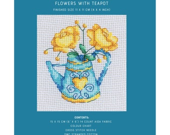 Mini Cross Stitch Kit - Flowers with Teapot - TUVA Publishing MCS06 - Sold by the Each