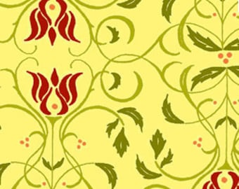Floral Scroll Stripe Fabric - Sorbet Garden Yellow - Jill Finley of Jillily Studio Henry Glass 5718 44 Yellow - Priced by the 1/2 yard