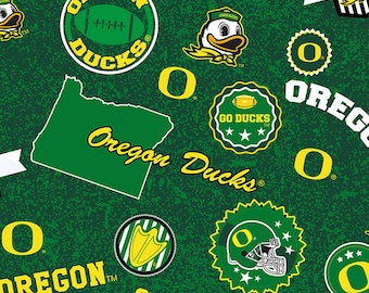 NCAA Oregon Ducks College Collection Fabric by Sykel Enterprises - Green & Yellow 1208 Licensed Product -  Priced by the half yard