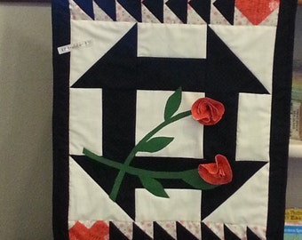 Roses, Fabric Wall Hanging Kit - Hearts and Roses by Shar from Thimbles and Threads - DIY Complete