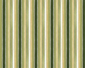 Narrow Striped Fabric - From Paris with Love by Lisa Audit for Wilmington Prints Fabric - 86356 717 Green - Priced by the half yard