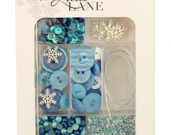 Embellishment Kit, Buttons Galore, Ribbon & Buttons - Let It Snow 28 Lilac Lane by May Flaum LL110