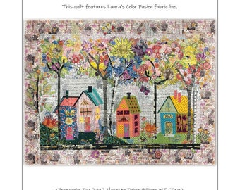 "Birch Street House - Laura Heine - Applique Quilt - Birch Street Collage 38""x50""  -  DIY Pattern Or Kit Option - full size reusable template"
