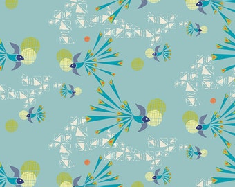 Bird Fabric - Soaring Free Clear from Safari Moon by Frances Newcombe for Art Gallery SFR 6704 Blue - Priced by the 1/2 yard