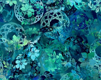 Celtic Fabric - Celtic Garden - Diaphanous - In The Beginning Jason Yenter 3ENC2 Blue Ocean - Priced by the 1/2 yard