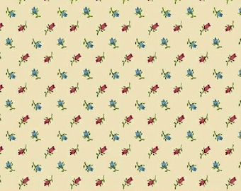 Closeout - Tiny Rose Fabric - Mr. K's Calico Gardens by Whistler Studios for Windham Fabrics 32042 6 cream - Sold by the yard
