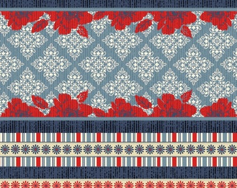 Striped Nantucket Fabric - Bethany Shackelford for Quilting Treasures - 22931 WR  - Denim/Red - Priced by the half yard