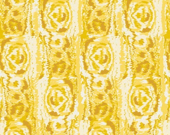 Rose Fabric, Abstract Floral Fabric - Moire in Buttercup - LillyBelle by Bari J - Art Gallery LB 2106 - Skinny Bolt 2 yds + 27 Inch