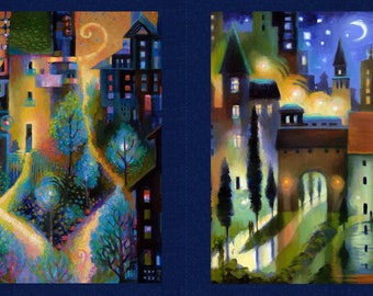 City Dreams - Karen Gillis Taylor Collection for Clothworks -  Y2775-96  Dark Blue - Priced by the Panel 24in x 44in