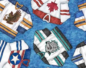 Hockey Fabric, Team Jersey, Mascot Jersey, Sport Fabric - Face Off by Dan Morris for Quilting Treasures 26345 B - Priced by the half yard