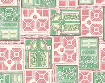 Garden Fabric, English Maze from Menagerie by Michael Miller DC6507 Pink/Green - Priced by the  1/2 yard