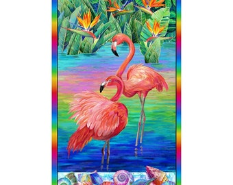 Flamingo Fabric - Fabulous Flamingos by Ro Gregg for  Paintbrush Studio Fabric - 208901 -  Priced by the 24-Inch panel
