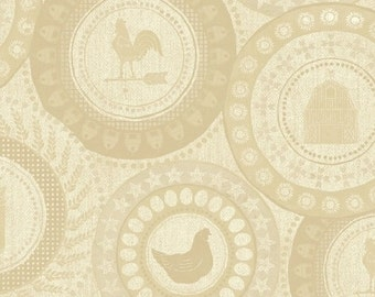 Chicken fabric, farm fabric - Farm to Table Medallions by Whistler Studios for Windham  41798 2 Cream - Priced by the Half yard