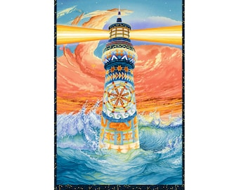 Lighthouse Panel - Lightkeeper's by Quilt-ish Cape Cod for Studio E - 5007 74  - Priced by the 24-Inch Panel