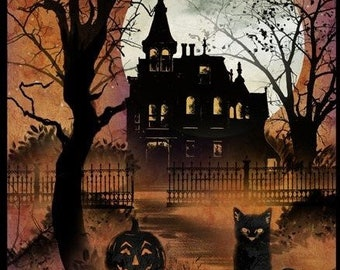 Frightful Night - Cat Haunted House - Wilmington Prints - 20501 896 - Priced by the 24-Inch Panel