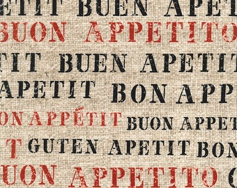 Bon Appetit Word Fabric - Gillian Fullard/London Portfolio for Michael Miller DC5506 Flax D - Priced by the 1/2 Yard