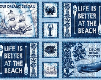 Nautical Motif, Sea Life, Beach Quotes - Indigo Coastal by Jennifer Parker - 3990 77 - Priced by the 24-Inch Panel
