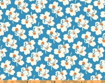 Puffy Flower Fabric, Daisy - Flower Fabric from A is For Alphabet by MY <3 KT for Windham Fabrics 37343 4 Blue - Priced by the Half Yard