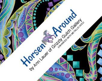 Horse Fabric - Horsen Around by Ann Lauer for Benartex - Fat Quarter Pack - 20 pieces - FQ 18x22