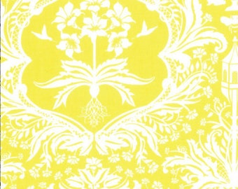 Damask Fabric - Flora Garden by Lauren & Jessi Jung for Moda Fabrics 25051 14 Yellow  - Remnant 33 Inches