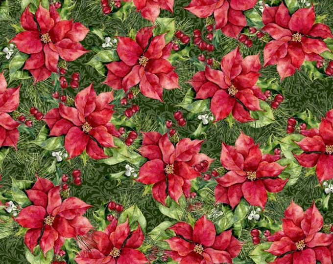 Featured listing image: Packed Poinsettia & Holly Berry - Poinsettia Winter - Christmas Fabric - In The Beginning - 4APW 1 - Priced by the 1/2 yard
