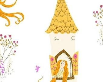 Heather Ross Fabric - Far Far Away 2 -  Rapunzel - Windham Fabrics - 51197 3 White - Priced by the Half Yard