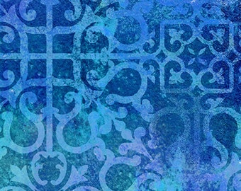 Croatia - Stucco Scroll - Ro Gregg - Paintbrush Studio - 120 99652 Blue - Priced by the 1/2 yard