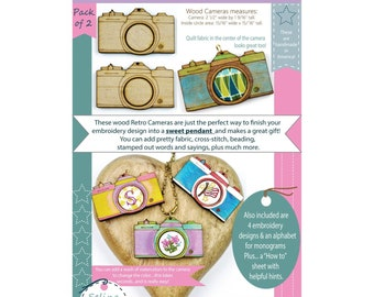 Retro Camera Necklace - Mini Embroidery Pendant Blanks - Selina Hudson - 2 per pack - DIY project - Basic Instructions included